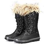 QMMD Botas Nieve Ligeras Cálidas en Invierno Mujer,Cálidas, Antideslizantes Espuma Viscoelástica Cómodas Suaves Felpa Takato Plus,Botas Zapatos Cachemira, para Interiores y Exteriores,Negro,4UK