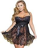 ohyeah Women Lace Sheer Mesh Plus Size Lingerie Black Strappy Lenceria Black X-Large=US 8-10