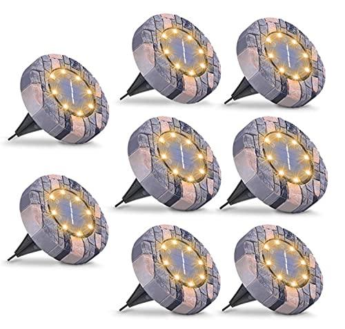 8 LED simulado mármol solar luz de tierra 8 LED al aire libre solar jardín disco luz impermeable solar en tierra cubierta luz IP65 [8 unidades)