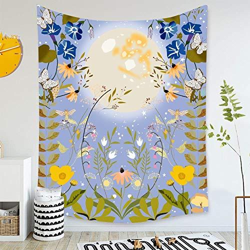 WERT Tapiz Estrellado de Luna psicodélica para Colgar en la Pared, Alfombra de Cielo, Tapiz de Dormitorio, Accesorios de decoración de Mariposas A11 200x180cm