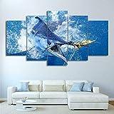 Cuadro En Lienzo 5 Pieza Impresión Lienzo Artística Pintura Diseño Cuadro Moderno Pared Gráfica Dormitorio,Baño,Comedor Imagen-Pesca con Salto De Atún Big Marlin Marco/200x100cm