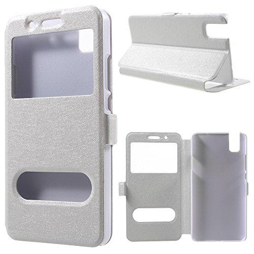 jbTec® Flip Case Handy-Hülle passend für Huawei ShotX/Honor 7i - mit Fenster - Handy-Tasche Schutz-Hülle Cover Handyhülle Ständer Bookstyle Booklet, Farbe:Weiß