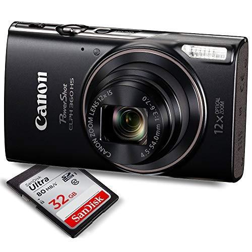 Canon PowerShot ELPH 360 HS(Black)Digital Camera - W / 32GB SD Card