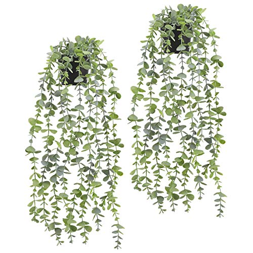 Fake Hanging Plant - Artificial Eucalyptus Faux Greenery Vine Plant for Home...
