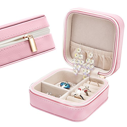 LE PAPILLION JEWELRY Small Faux Leather Travel Jewelry Box Travel Storage Case for Rings Earrings Necklace - Jewelry Box Gift for...