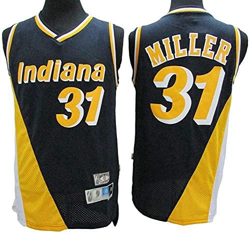 Maglie Jersey Maschile - NBA Indiana Pacers # 31 Reggie Miller Basket Baskey Jersey, T-Shirt Senza Maniche Top Outdoor Retro Gym Gym Vest Sport Top, Giallo, XXL (185~190 cm)