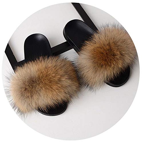 Fur Slippers Women Real Fox Fur Slides Home Furry Flat Sandals Female Cute Fluffy House Shoes Woman Luxury Camel