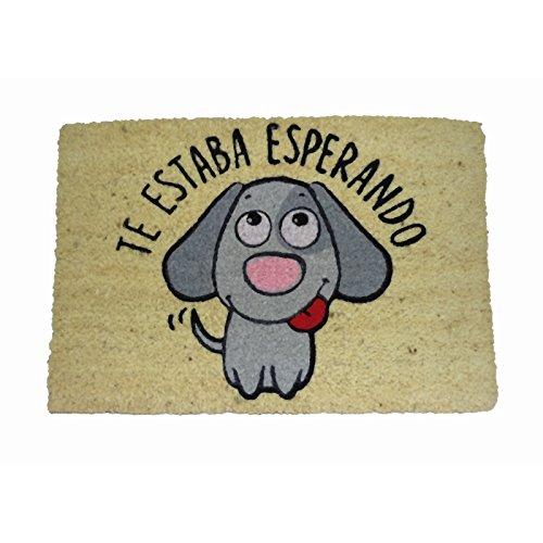 Koko Dormats Felpudo para Entrada de Casa Original, Perro Esperando, Fibra de Coco y PVC, 40x60cm