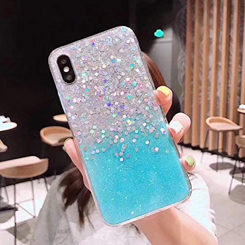 SFJUL Paillettes Fashion Glitter Case Cover voor iPhone X XS Max XR X 6 6S 7 7Plus 8 Plus Shinning Soft TPU Coque Case Capa, For iphone X, Gradiente blu