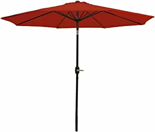Sunnydaze 9 Foot Outdoor Patio Umbrella with Tilt & Crank, Aluminum, Burnt Orange