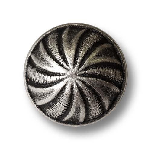 Knopfparadies - 8er Set Elegante gewölbte altsilberfarbene Ösen Metallknöpfe mit Spiralen Muster wie alte Silberknöpfe/Altsilberfarben geschwärzt/Metall Knöpfe/Ø ca. 15mm