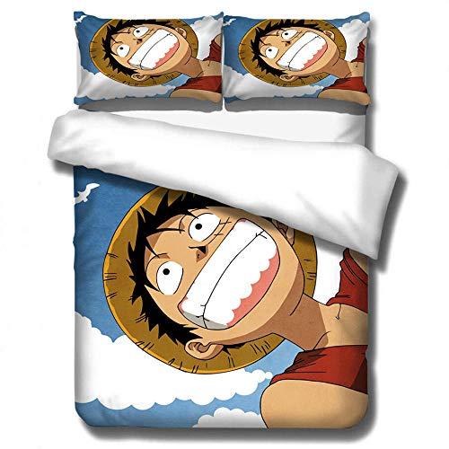 Juego de dormitorio para niños, anime impreso en 3D Naruto One Piece patrón ropa de cama funda de edredón funda de almohada textil para el hogar regalo perfecto para adultos-G_220 * 240 cm (3 pcs)