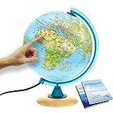Interkart Kinder-Globus - 25cm Globus mit Holzfuß, Deutsches Kartenbild mit vielen Abbildungen für Kinder mit LED Leuchte mit Buch -