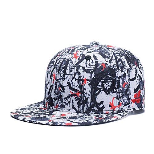 Quanhaigou Red Dancing Stars Snapback,Fashion Graffiti Baseball Cap Black Flexible Arrow Plain Adjustable Hats, Black Red White, One Size