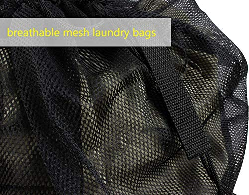 51qHuK8n90L - Meeall Mesh Laundry Bag Large Heavy Duty Mesh Wash Bag with Drawstring Closure for Factories, College, Dorm and Travel, 24 x 36 inches, 2 Pack, Black