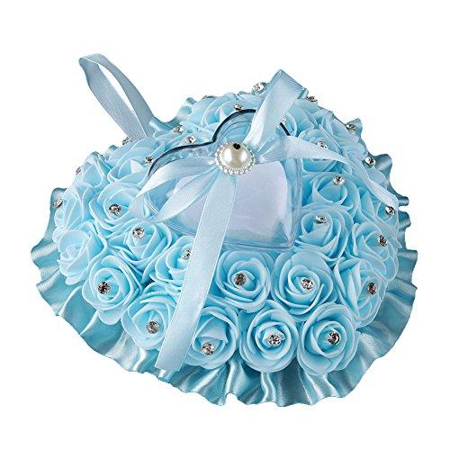Jiacheng29Fleur Rose Strass en Forme de cœur en Satin avec nœud Boîte à Bague Taie d'oreiller Cadeau de Mariage, Bleu Clair, Taille Unique