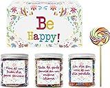 SMARTY BOX Caja Regalo de Caramelos y Gominolas con Frases para Felicitar Cumpleaños, Navidad, Sin Gluten Cesta Chuches Chucherías Golosinas