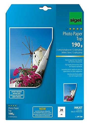 SIGEL IP720 InkJet Fotopapier Top, A4, 20 Blatt, 2seitig hochglänzend, hochweiß, beidseitig bedruckbar, 190 g