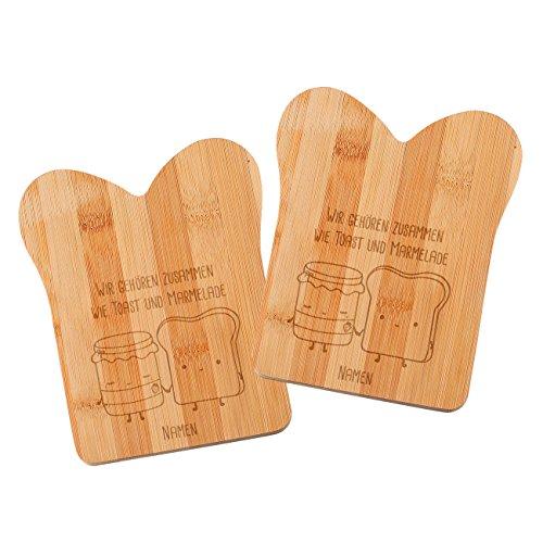Herz & Heim® Bambus Frühstücksbrettchen in Taostform 2er Set - Toast & Marmelade - mit Wunschnamen