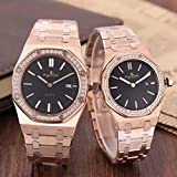 DFGHU Relojes De Pareja para Hombres Y Mujeres Relojes De Cuarzo De Acero Inoxidable Relojes De Zafiro Oro Rosa Negro Blanco Diamante Business Casual