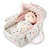 GAGAKU Soft Baby Doll Bassinet with Lace Canopy and Pillow Blanket 3 PCs Doll Carry Cot Set Play Baby Doll Carrier 13 inch - Pink Rose Garden