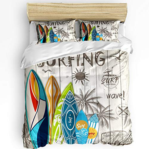 wanxinfu 3 Piece Duvet Cover Set Full Size for Adults, Boys, Girls, Kids, Lightweight and Soft Bedding, Summer Surfboard on The Wood Board Brushed Microfiber Quilt Cover Set