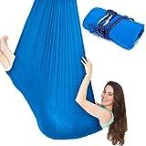 Columpio de Terapia Interior para Niños y Adultos, Capacidad Máxima de 100 kg Columpio Sensorial, Hamaca Sensorial Ajustable, Material Nilón, 1 o 2 Puntos de Suspensión Columpio Yoga Aéreo Azul
