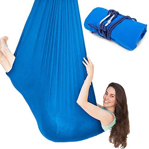 VEV Columpio de Terapia Interior para Niños y Adultos, Capacidad Máxima de 100 kg Columpio Sensorial, Hamaca Sensorial Ajustable, Material Nilón, 1 o 2 Puntos de Suspensión Columpio Yoga Aéreo Azul