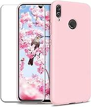 Funda Xiaomi Redmi Note 7/ Note 7 Pro + Protector de Pantalla de Vidrio Templado, Carcasa Ultra Fino Suave Flexible Silicona Colores Caramelo Protectora Caso Anti-rasguños Back Case - Rosa Claro