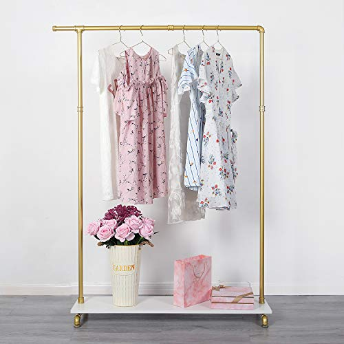 Gold Metal Clothing Rack with Shelf for Clothes Display,...