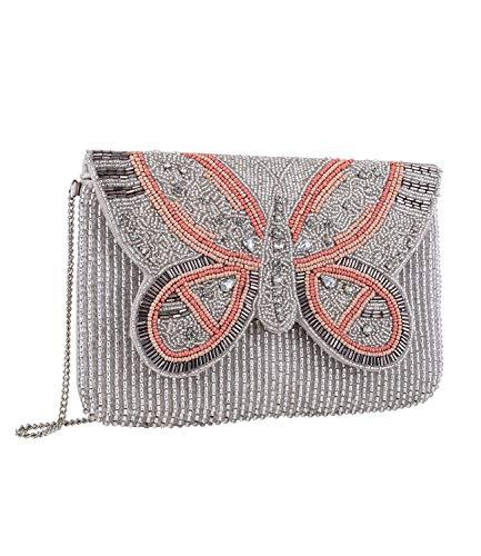 SIX Bolso de mano para mujer de tela beige con cierre de mariposa de perlas en color rosa, gris y beige con brillantes (726-761)