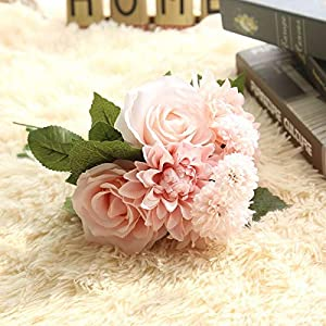 Artificial and Dried Flower 1 Bouquet Silk Flowers Dahlia Bunch Artificial Flower Bouquet Valentine's Day Gifts Bridal Bouquet DIY Wedding Decoration – ( Color: 5 )