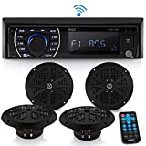 Marine Head Unit Receiver Speaker Kit - In-Dash LCD Digital Stereo Built-in Bluetooth & Microphone w/ AM FM Radio System 6.5 Waterproof Speakers (4) MP3/SD Readers & Remote Control - Pyle PLMRKT48BK