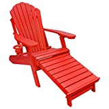Outer Banks Deluxe Oversized Poly Lumber Folding Adirondack Chair with Integrated Footrest (Bright Red) …