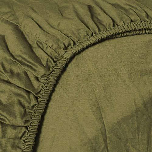 Heckett & Lane Katoenen percale Hoeslaken voor boxspring Split-Topper 180 x 200 cm tot 12 cm I Burnt Olive Green