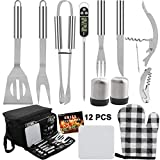 grilljoy BBQ Grill Tools Set with Black Insulated Cooler Bag - All-in-one Barbecue Picnic Cooler Bag - 12pcs Stainless Steel Camping Utensil Kit - Perfect Grill Accessories
