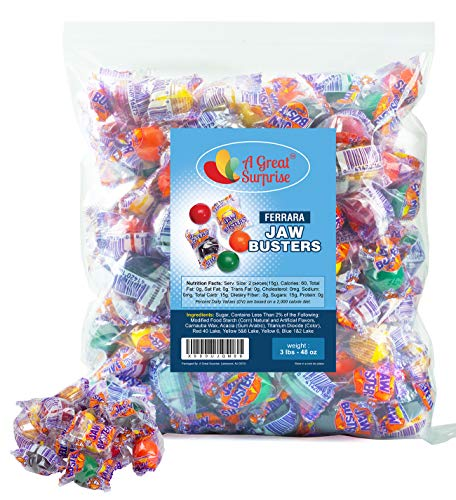 Jawbusters Jawbreakers - Jaw Busters Ferrara Candy - Medium Size - Individually Wrapped Candy, 3LB Party Bag, Bulk Candy, Family Size