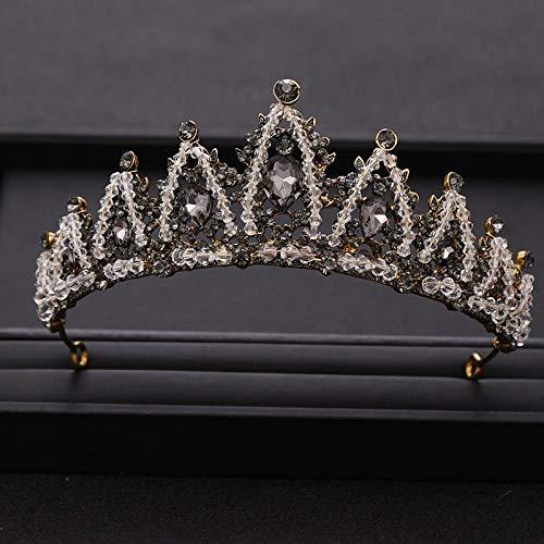 Couronne Tiara Cadeau De Noël,Nouveauté Vintage Crown Silver Hair Rhinestone Crystal Crown A La Main pour La Photographie De Mariage Mariée Anniversaire Princess Crown Tiara Accessoires Coiffure