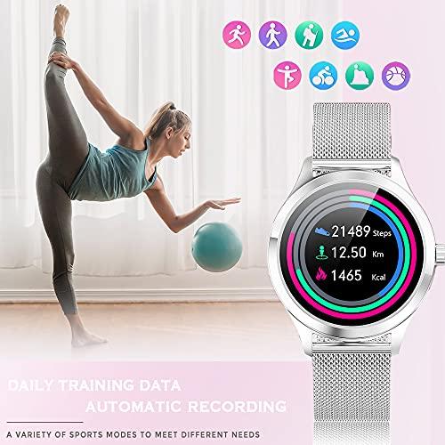 ANMI Reloj Inteligente Mujer,IP68 Impermeable Smartwatch Mujer,con Control de Ciclo Femenino Monitor de frecuencia cardíaca Monitor de presión Arterial Monitor de sueño,para Android iOS