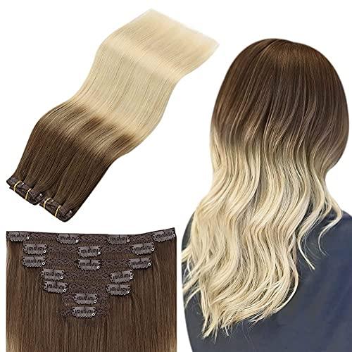 Sunny 7pcs/100g Extension a Clip Cheveux Naturel Balayage Brun Clair mixte Blond Platine Extension Clips Naturel Ombré Extension Vrai Cheveux Blond 55