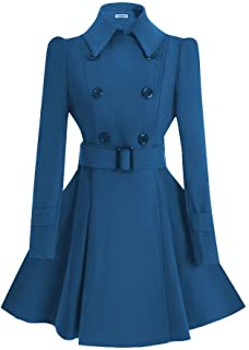 ForeMode Women Swing Double Breasted Wool Pea Coat with Belt Buckle Spring Mid-Long Long Sleeve Lapel Dresses Outwear …