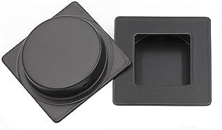 Sliding Door Pull Black Flush Pull 2 Pack - homdiy MC009-70BK Square Flush Handle Sliding Closet Door Handle Recessed Cabi...