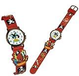 alles-meine.de GmbH 3-D Kinderuhr Pirat - Uhr für Kinder - Armbanduhr Silikon Piraten Schatztruhe Analog Schiff Seefahrer Jungen