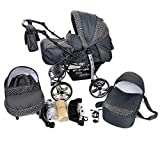 Kamil, Classic 3-in-1 Travel System with 4 STATIC (FIXED) WHEELS incl. Baby Pram, Car Seat, Pushchair & Accessories (3-in-1 Travel System, Gray & Polka Dots)