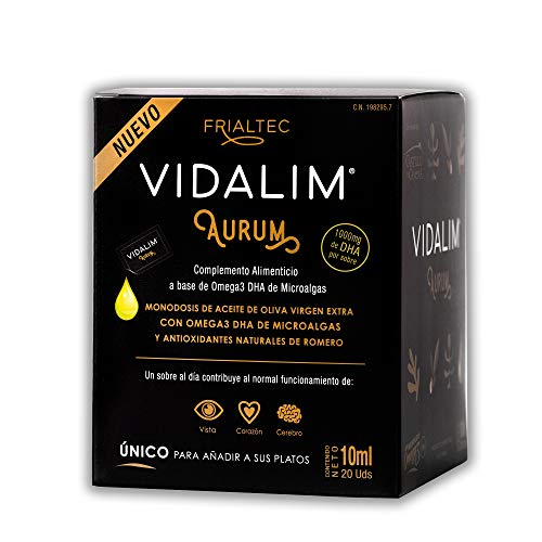 Omega 3 en Aceite de Oliva (1000mg DHA/sobre) - Sin cápsulas - Sin sabor a pescado - Vidalim Aurum. Formato Único - Apto para veganos