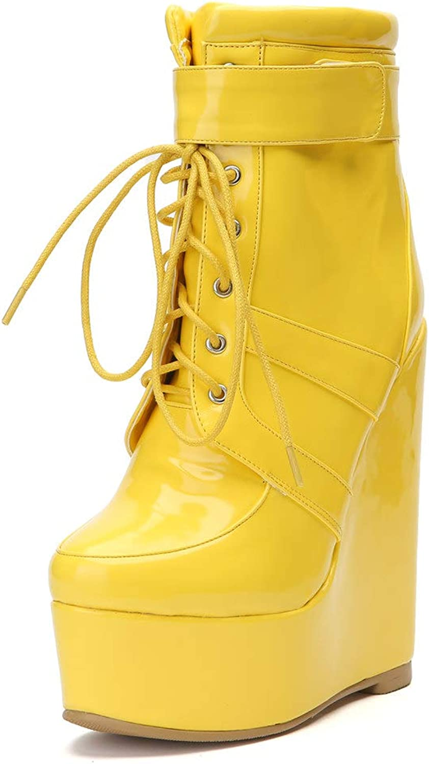 Original Intention Sexy Woman Ankle Boots Platform Round Toe Wedges Boots Yellow shoes Woman