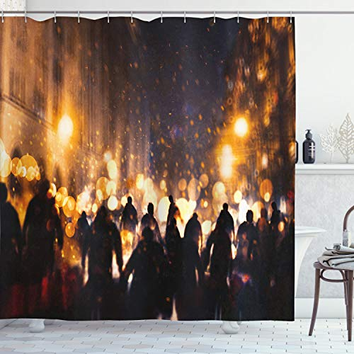 ABAKUHAUS Zombie Duschvorhang, Brennende Stadt Chaos, Set inkl.12 Haken aus Stoff Wasserdicht Bakterie & Schimmel Abweichent, 175 x 220 cm, Amber Lila Seal Braun
