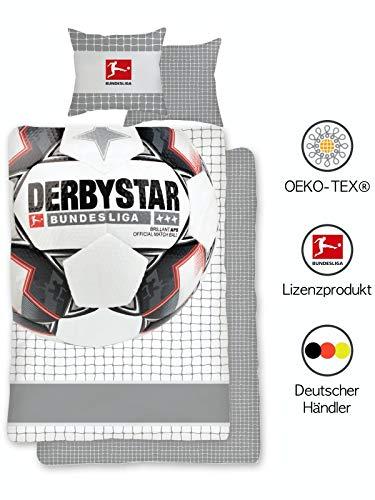 Original Fußball Bundesliga Bettwäsche 135x200 cm 80x80 | Wende-Bettwäsche-Set für Jungen | Öko-Tex Standard 100 | Deutsche Standardgröße