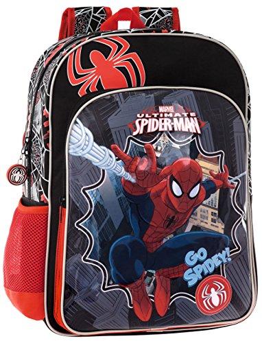 Zaino Modello Americano da 40 cm Spiderman Colore Nero e Rosso