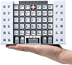EatingBiting(R) 1/150 N Scale Hospital Buildings Model Office Skyscraper Assembled Scene Parts 6-Story White Building Sand Table Models